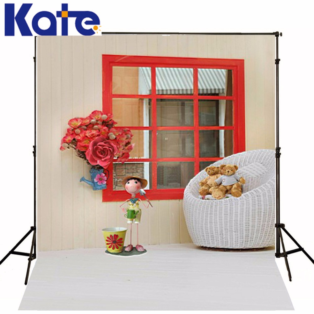 Red chair photography - Children Backgrounds Bear Window Red Flowers Photography Winter Chair Wood Floor Birthday Funds Study Photography Backdrop Photo
