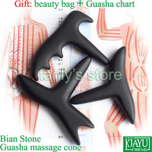 Wholesale & Retail Traditional Acupuncture Massage Tool / Natural Bian stone Guasha msssage cone Scrapping kit 3pieces/lot