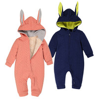 Baby Winter Cotton Thick Warm Long Sleeve Rompers Jumpsuit Outfits Infant Lovely Rabbit Pure Color Clothing
