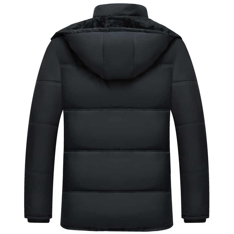 2018 新しい冬のパーカー男性カジュアル暖かい厚手冬コート男性付きパーカー男性服オーバーコート上着 5XL