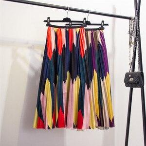 Image 5 - Moda kontrast wysokiej talii plisowana spódnica 2020 spódnice jesienno zimowe damskie w pasie linia spódnica trzy czwarte do połowy łydki spódnice