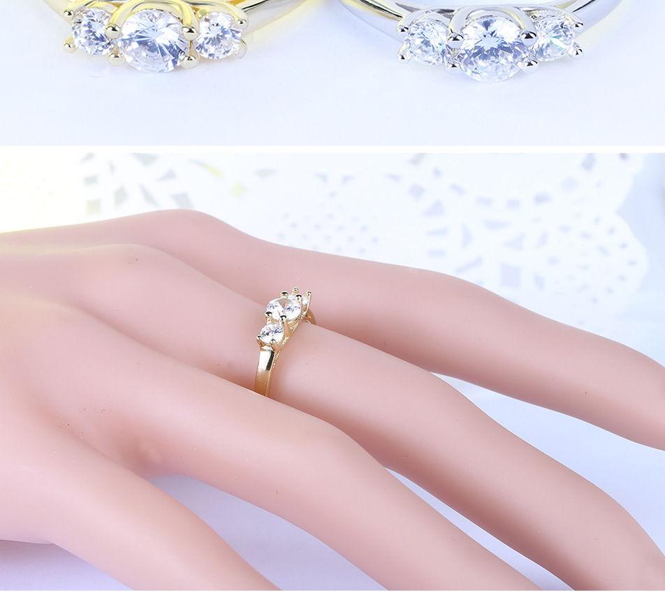 Crystal Jewelry Promise Double Rings For Couples Men Women Gold ...