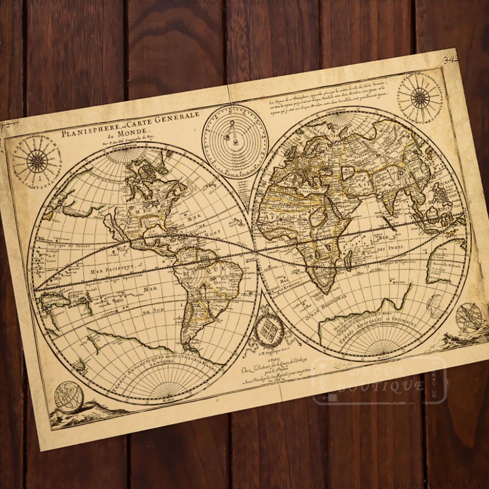 Online Shop Ocean Mountains World Map Classic Vintage Retro Kraft ...