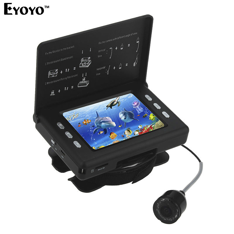 EYOYO F7 3.5″ 15m 130 Degree Waterproof Fishing Video Camera Fish Finder DVR Recorder 3000mAh Battery With 8PCS Infrared LED