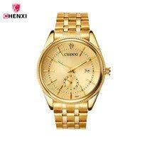 CHENXI Gold Watches Men Quartz watch Stainless Steel Golden men's Wristwatches Waterproof Top Brand Luxury relogio masculino 27