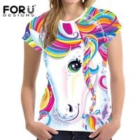 FORUDESIGNS New Women S T Shirt Cute 3D Rainbow Horse Print Female Clothes Tee Shirt Brand