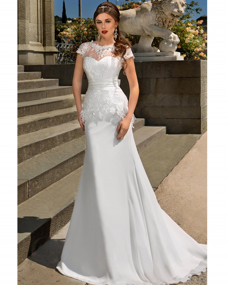 A Line Simple Wedding Dresses: 2017 Simple A Line Short Sleeve Lace Chiffon Stain Wedding