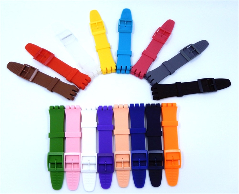 XBERSTAR Wrist Watch Band Strap for Swatch 16mm 17mm 19mm 20mm Rubber Silicone Watchband Accessories