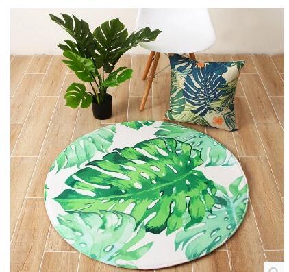 Tapis rond vert plante tropicale flanelle tapis antidérapant salon chambre tapis de sol tapis intérieur