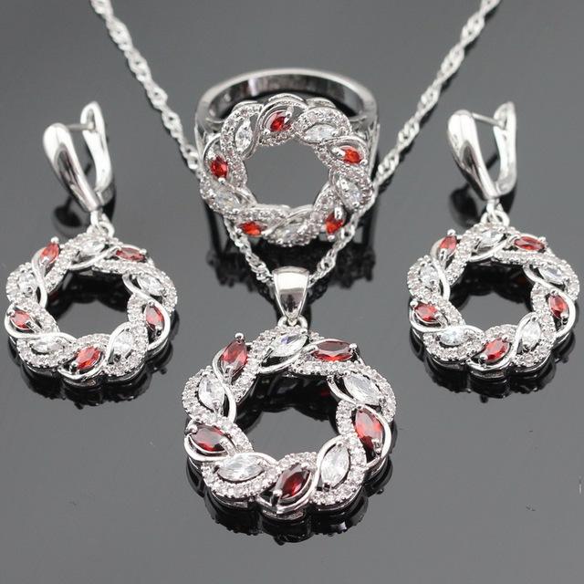 Color de plata Sistemas de La Joyería Para Las Mujeres Navidad Red Creado Granate Redondo Blanco CZ Collar Colgante Pendientes Anillos Caja de Regalo Libre