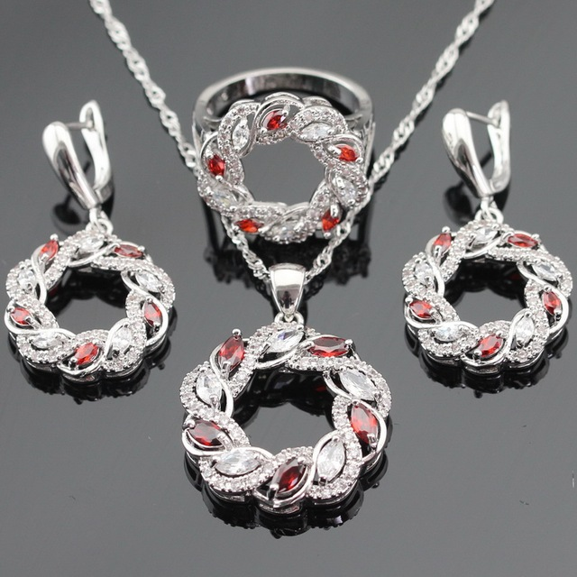 Silver Color Jewelry Sets For Women Christmas Red Created Garnet White CZ Round Necklace Pendant Earrings Rings Free Gift Box