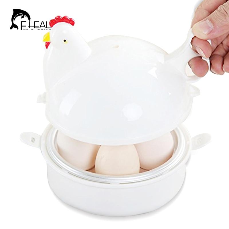 FHEAL Creative Chicken Shape Microwave Egg Poachers Egg Cooker Stainless Steel Boiler Steamer For 4 Eggs Egg Tool
