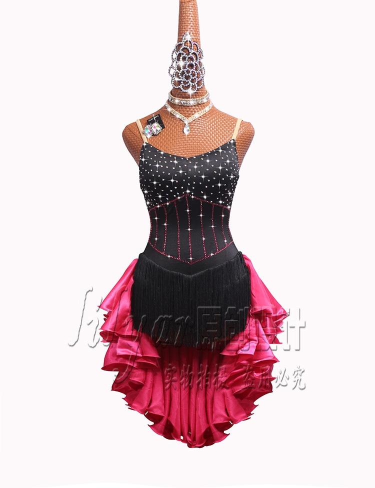 Latin Dance Competition Dress Performance Dress New High-grade Black Tassel Skirt Rose Red Skirt