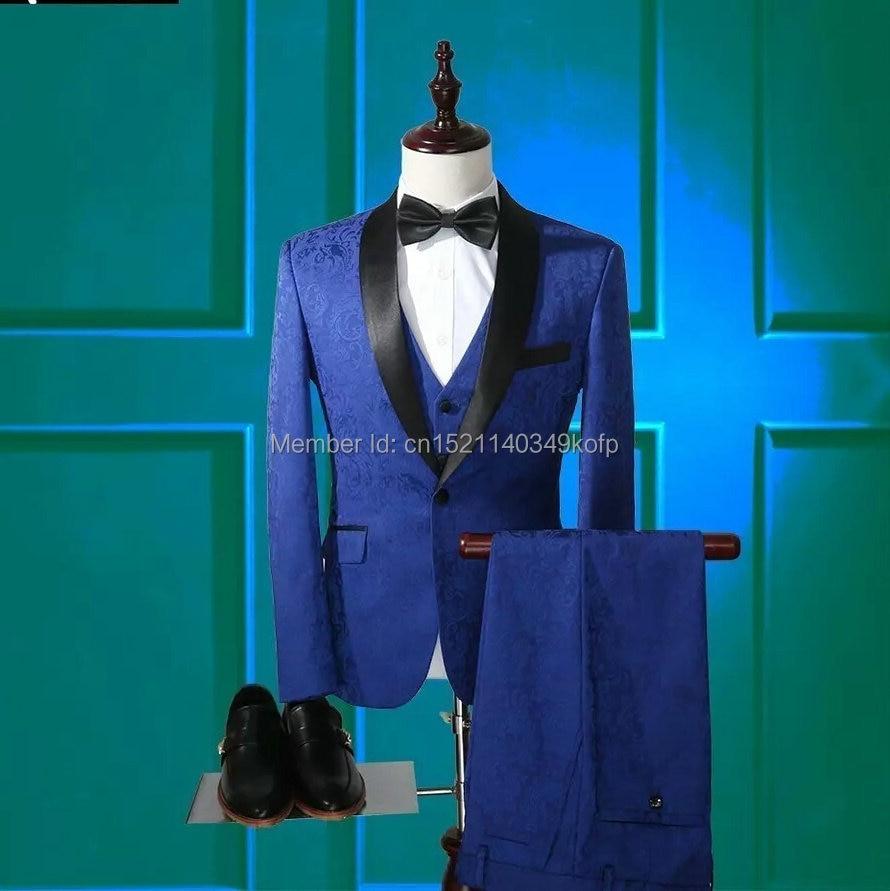 2018 New Design Royal Blue Wedding Groom Men Suit Jacket 3 Pieces ...