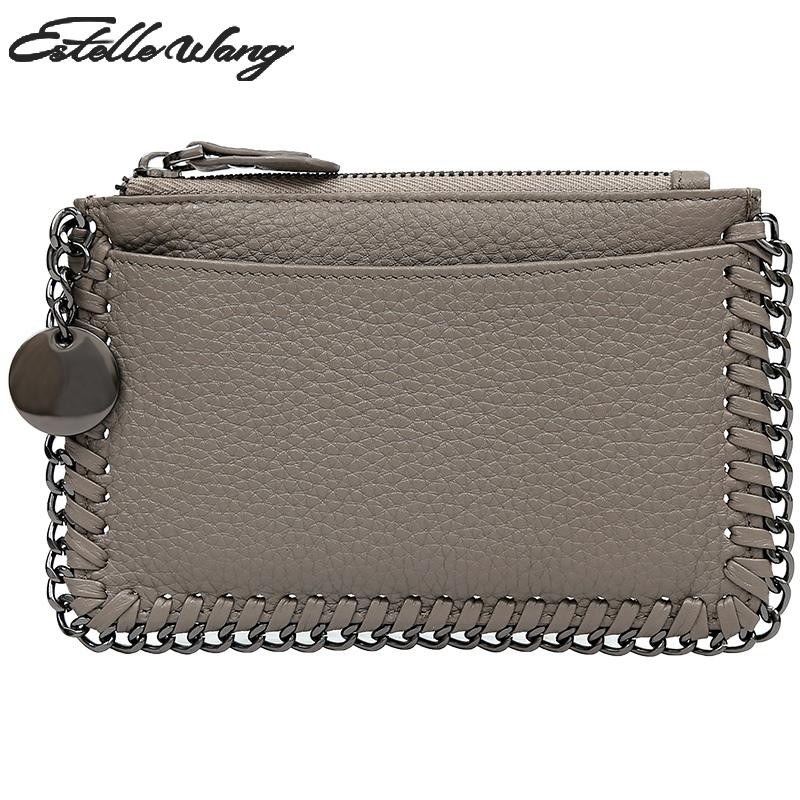 Estelle Wang Cowhide Leather Zero Purse Simple Chain Mini Women Wallets Personality Small Zipper Lovely Coin Card Holder Wallet kitavt75417unv10200 value kit advantus id badge holder chain avt75417 and universal small binder clips unv10200
