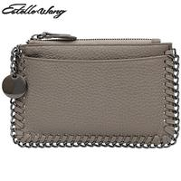 Estelle Wang Cowhide Leather Zero Purse Simple Chain Mini Women Wallets Personality Small Zipper Lovely Coin Card Holder Wallet