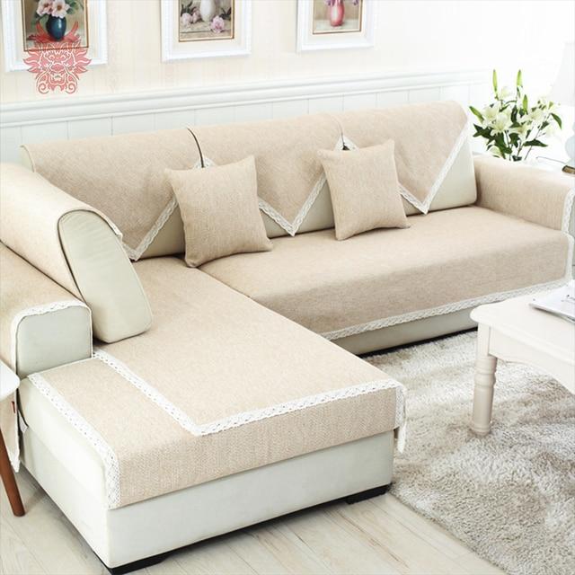 Moderne Stil Beige Kaffee Baumwolle Leinen Sofa Abdeckung Cama Abdeckung  Für Wohnzimmer Dekor Möbel Schnitt Couch
