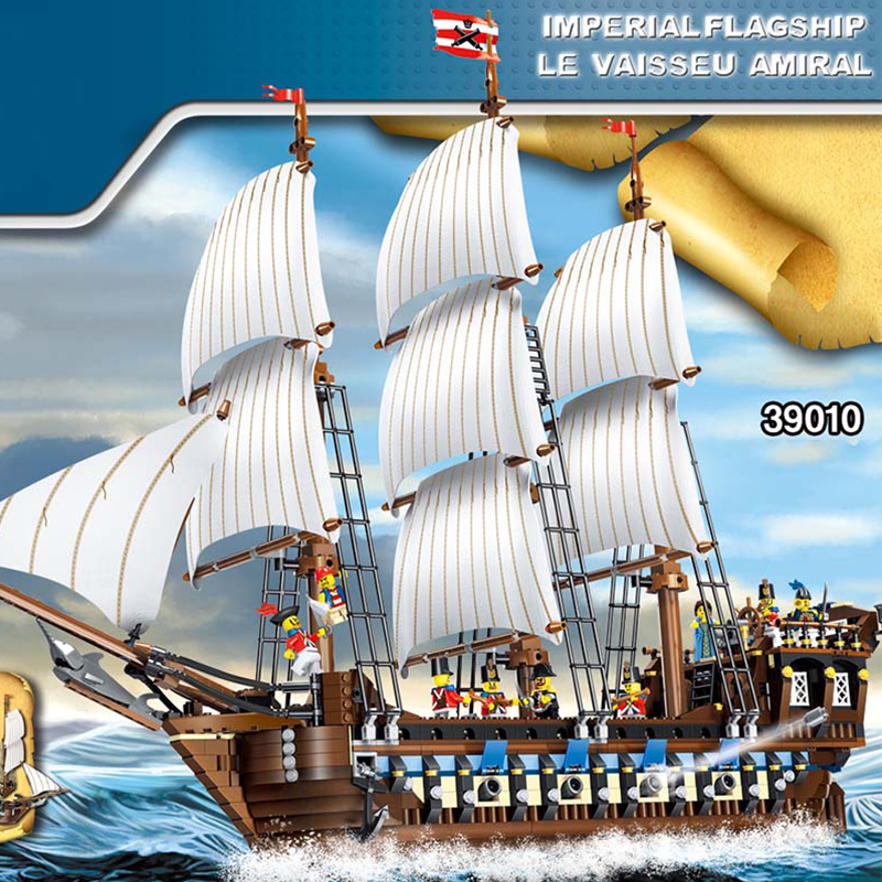 1779Pcs Imperial Battleship Pirates of the Caribbean Building Blocks Set Ship Model Building Toys Compatible Legoed 10210 lepin 22001 pirates series the imperial war ship model building kits blocks bricks toys gifts for kids 1717pcs compatible 10210
