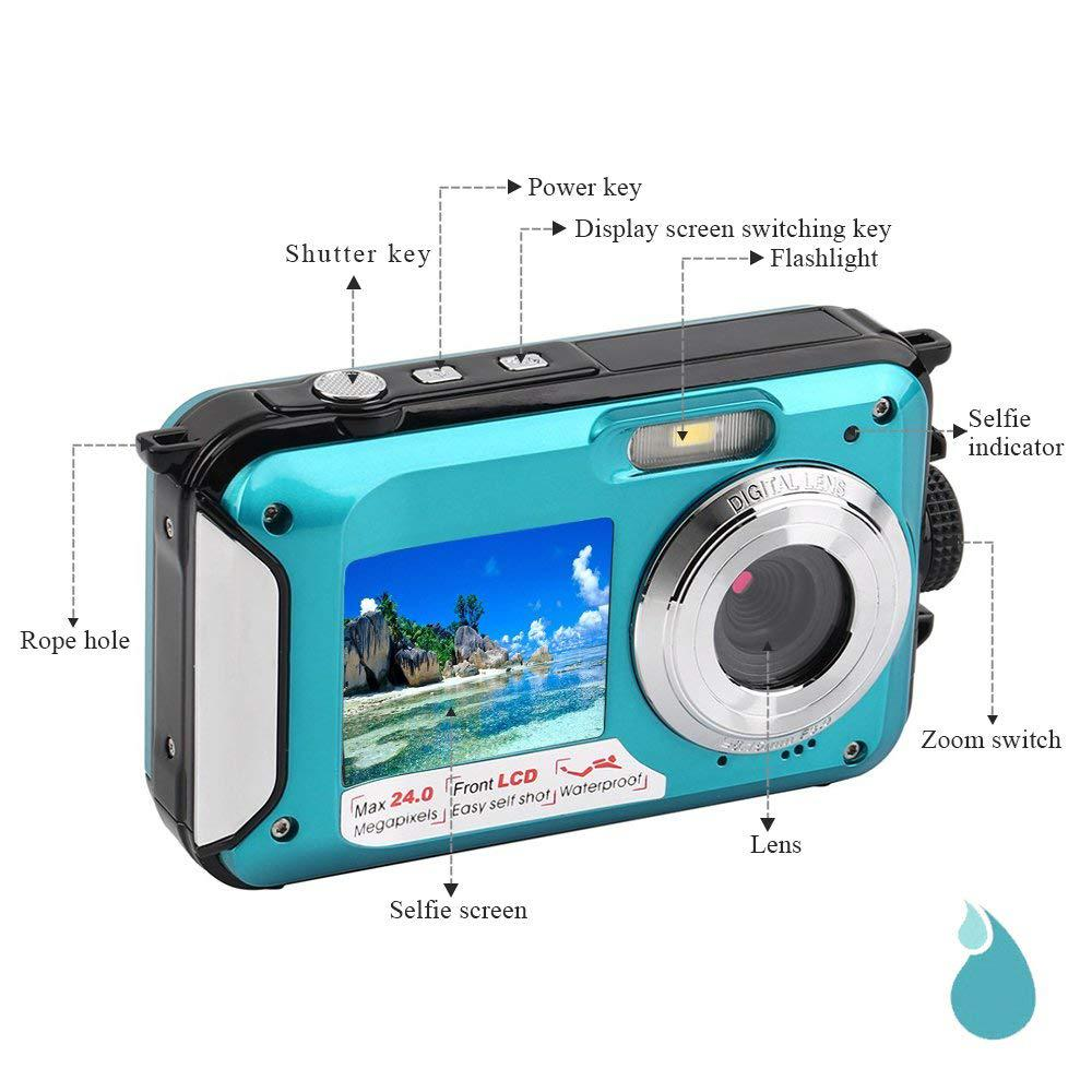 BEESCLOVER Video-Recorder Underwater-Camera Selfie Dual-Screen Waterproof Full-Hd 24-Mp