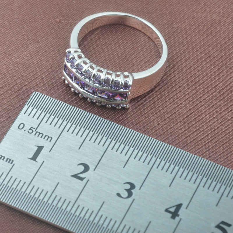 2019 neue Natürliche Lila Kristall frauen 925 Sterling Silber Schmuck Sets Halskette Anhänger Ohrringe Ring Freies Verschiffen TZ0143