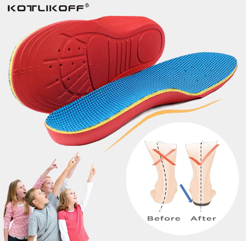 KOTLIKOFF 3D Orthotic Insoles flat feet for kids and Children Arch Support insole for X-Legs child orthopedic shoes Foot Care expfoot orthotic arch support shoe pad orthopedic insoles pu insoles for shoes breathable foot pads massage sport insole 045