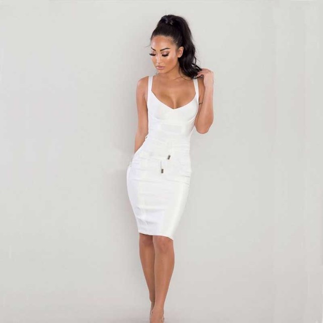 e060410b64cc8d Nieuwe jurk witte Spaghetti Modieuze vrouw Stretch strakke elegante  celebrity Cocktail party bandage jurk (H1846