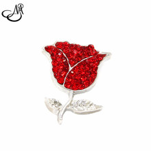 Christmas gift Red Crystal Rhinestone Jewelry 18mm Rose Flower Shape Snap Button Jewelry SB036