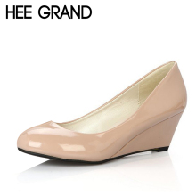 HEE GRAND NEW Women Pumps PU Leather Shoes Woman Candy Color Platform Wedges Pointed Toe High Heels Summer Size 35-39 XWD704