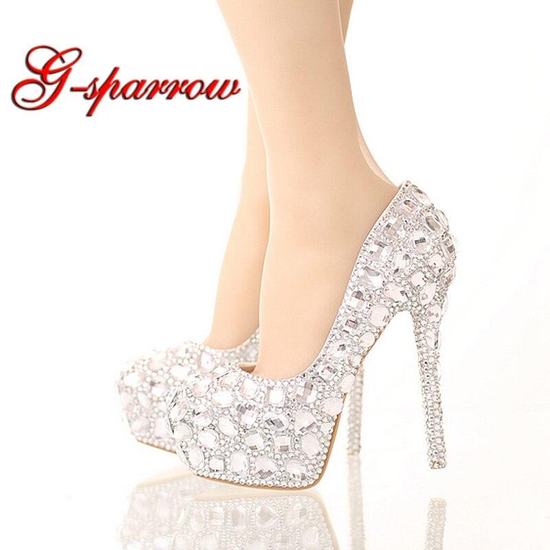 Chaussures en cristal strass chaussures de mariage en argent à talons hauts plate-forme événement chaussures femmes à la main cendrillon chaussures grande taille 40-45