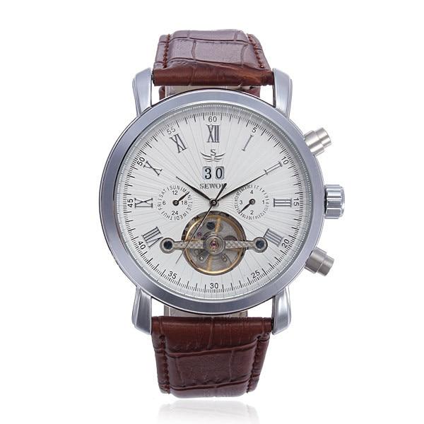 ФОТО SEWOR Multifunction Leather Automatic Mechanical Men Wrist Watch