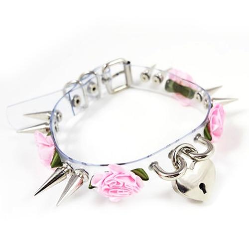 100% Handcrafted Kawaii Sexy Women Punk Goth Long Spiked Rose Flower Clear Safe Heart Ke ...