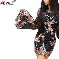 ADEWEL 2018 New Black Gold Floral Mesh Women Dresses Luxury Sequined Round Neck Long Flare Sleeves