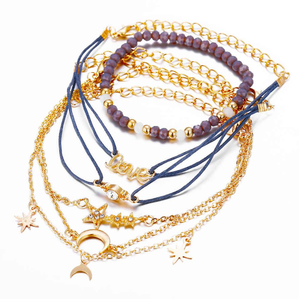 DIEZI Богемия Шарм с Луной и звездой браслеты для женщин бусы, цепочка браслеты наборы ювелирных изделий подарки новый Винтаж 2019 Прямая поставка