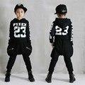 Мальчики комплект одежды хип-хоп подросток дети комплект одежды детская одежда Панк 2 шт. девочки комплект одежды Хлопка дети sweatshirt4-13T