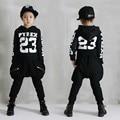 Conjunto de roupas meninos hop adolescente roupa das crianças set crianças roupas de Punk 2 pcs meninas conjunto de roupas de Algodão crianças sweatshirt4-13T