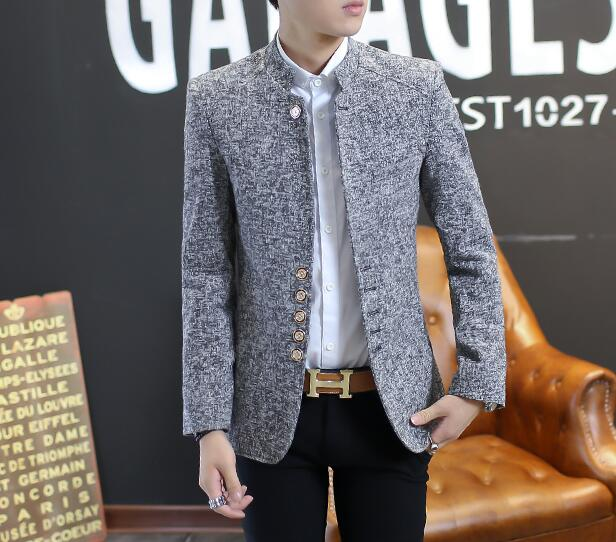 Spring and autumn korean chinese collar small suit men's dress chinese style youth mens casual tunic suit stand collar grey 2XL