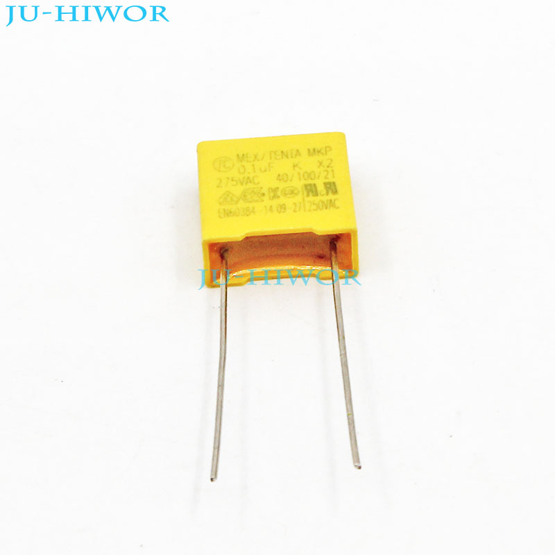 (20pcs/lot) X2 Safety Capacitor 104K <font><b>0.1uF</b></font> 100nF 275V 10% Pitch 10mm Polyester Film Capacitor Yellow Square Capacitance image
