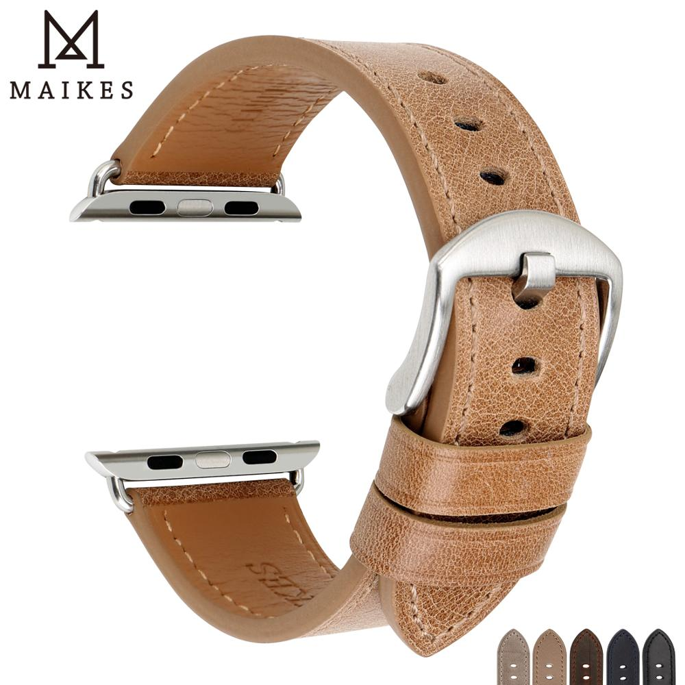 MAIKES Watch Accessories For Apple Watch Band 44mm 40mm Genuine Leather IWatch Strap 42mm 38mm Apple WatchBands Series 5 4 3 2 1