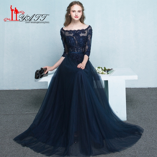 1f0a74c56d Vestido de festa Elegant Long Evening Dresses 2017 Lace Boat Neck A-Line  Floor Length Navy Blue Red Tulle Prom Dress StockZY040