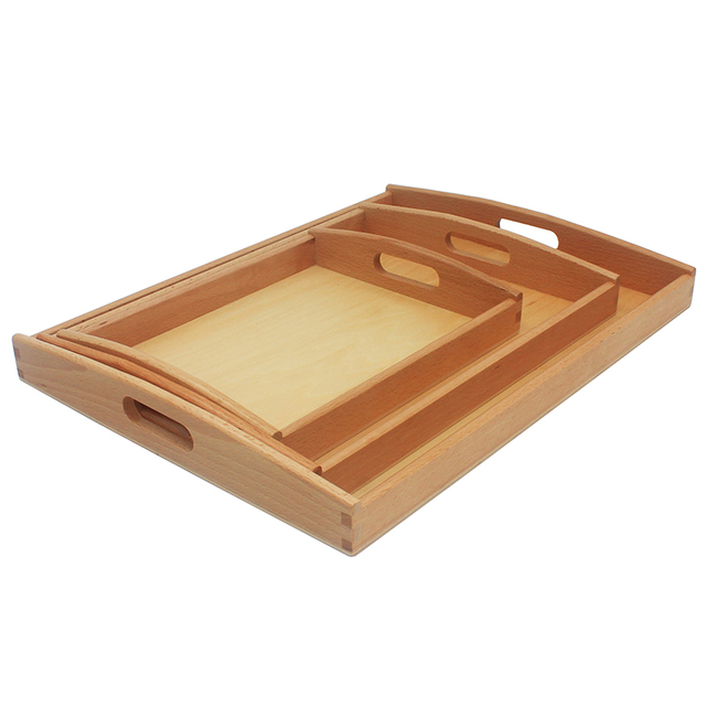 2017 New Arrival Baby Montessori Materials Wood Toy Wood Small Tray Toys Teaching Receives Pallet Early Education Preschool Toys