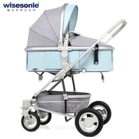 High Landscape Baby Carriage, Rubber Wheel Baby Stroller, kids can sit can lie Baby Cart with good shock proof