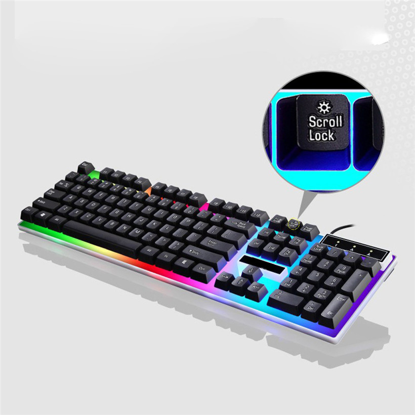 Waterproof Rainbow Keyboard With Rainbow Backlight USB Wired Game Keyboard drop shipping 0908 ...