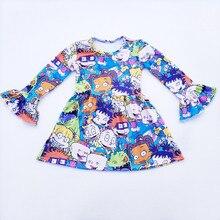 2018 الجملة الاطفال فتاة اللباس الكرتون نمط المطبوعة جولة طوق الخريف الشتاء الطفل اللباس طويلة الأكمام كشكش الملابس Milksik