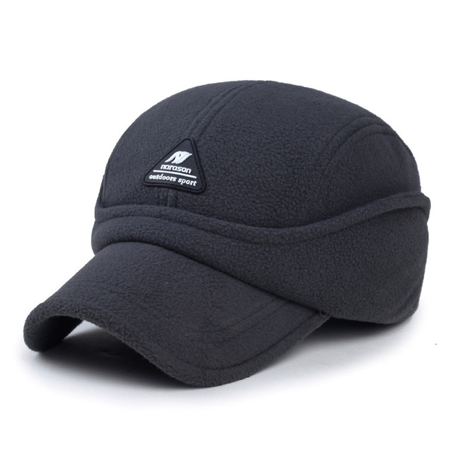 Polar fleece older man warm winter baseball cap fashion outdoor keep warm male visor bone brim windproof ear protection hat