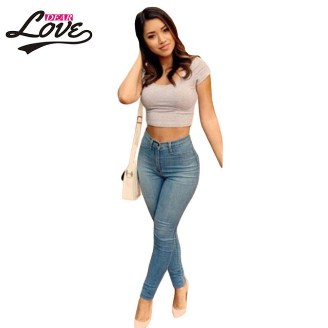 leggins fitness Shaping Effect Skinny Light Blue Classic High Waist Skinny Jeans Plus size XL pants female trousers 2017 LC78614
