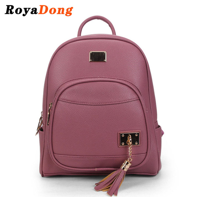 RoyaDong 2017 New Backpack Women Artificial Leather Small Bag For Teenage Girls With Tassel