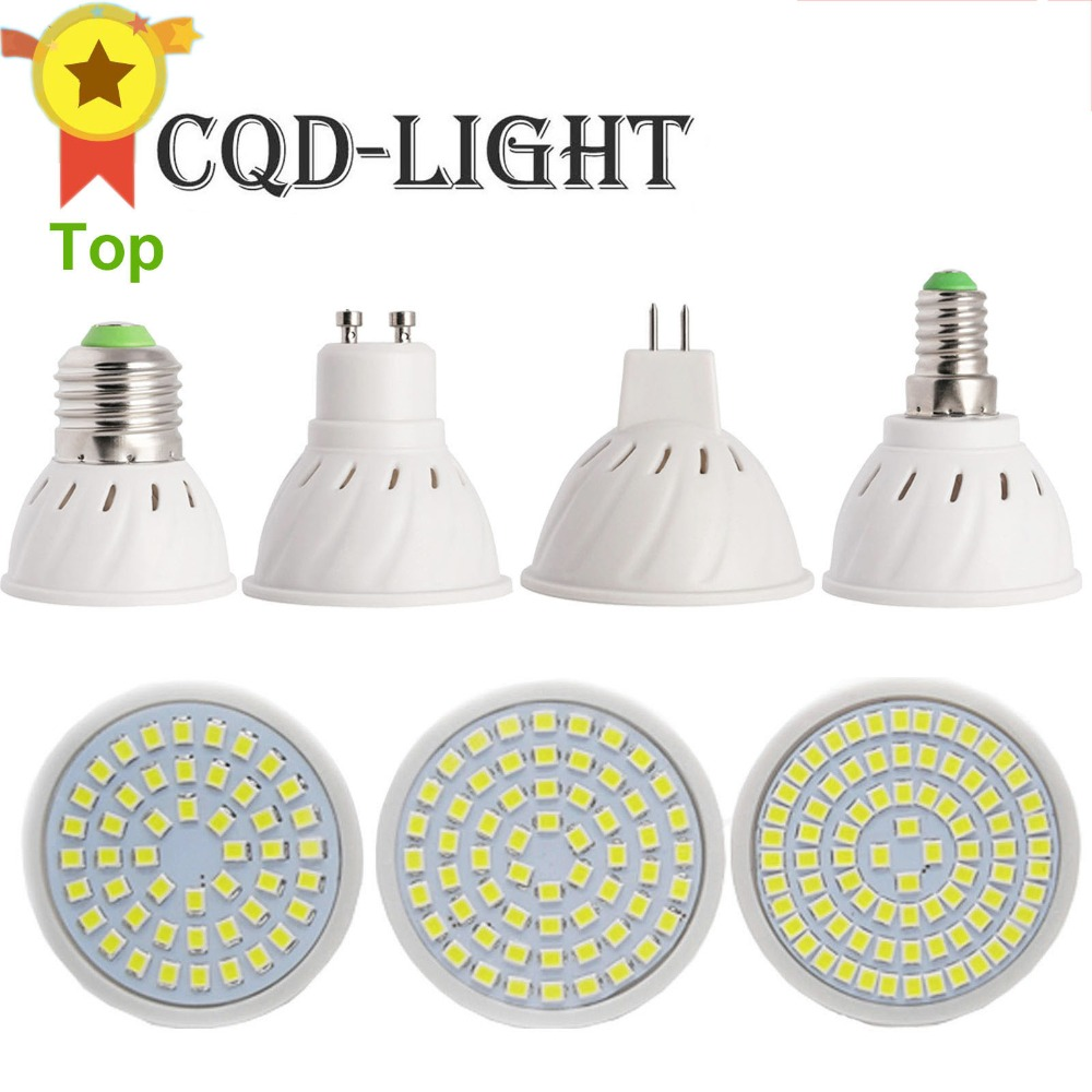 CQD-LIGHT E27 E14 MR16 GU10 LED Bulb Lamp 110V 220V Bombillas LED Lamp Spotlight 48 60 80 LED 2835 4W 6W 8W new e27 gu10 rgb led bulb light bombillas 4w 16 color change mr16 e14 led lamp spotlight lampada with remote controller dimmable