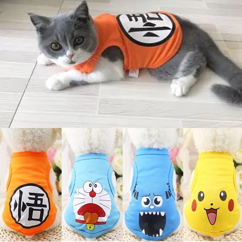 Cute Pet Cat Clothes Summer Cartoon Printed Cat T Shirt Vest Cotton Soft Small Cats Shirts Clothing Pet Costume Xs-xxl