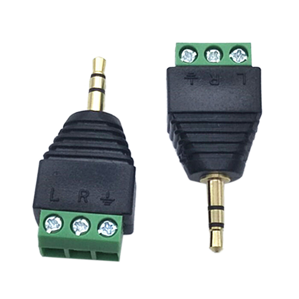 3PCS/lot 3.5 MM Male 3 Pin Terminal Block Plug Connector Dual Channel Stereo Audio Gold-plated Green Current Terminal Adapter