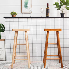 Nordic log bar chair home solid wood bar stool dining table stool high stool simple modern bar chair high chair(China)